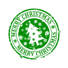 Damaged round green stamp with the words - Merry Christmas - a Christmas tree and snowflakes - vector svg