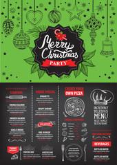Christmas food menu restaurant.