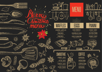 Christmas food menu restaurant.