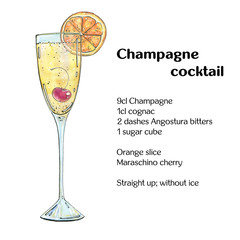 hand drawn watercolor cocktail Champagne cocktail on white backg