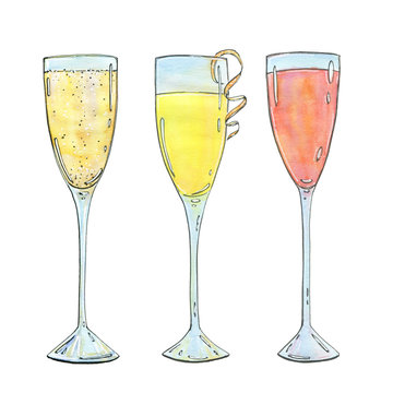hand drawn set of watercolor cocktails Mimosa Bellini Champagne