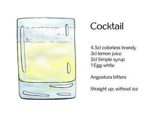 hand drawn watercolor cocktail on white background