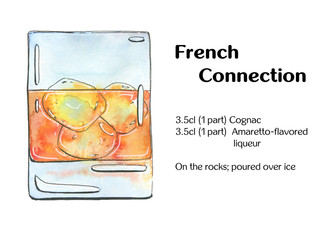 hand drawn watercolor cocktail French Connection on white backgr