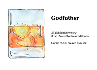 hand drawn watercolor cocktail Godfather  on white background