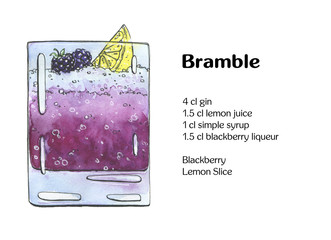 hand drawn watercolor cocktail Bramble on white background