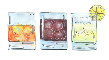 hand drawn set of watercolor cocktails Godfather French Connecti