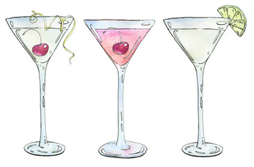 hand drawn set of watercolor cocktails Casino Rose Kamikaze on w