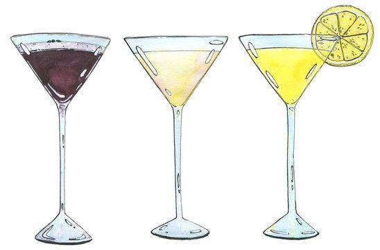 hand drawn set of watercolor cocktails Espresso Martini Golden d