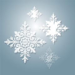 Winter lace pattern with snowflakes. Suitable for new year, christmas holiday and winter background or wallpaper. Vector Illustration