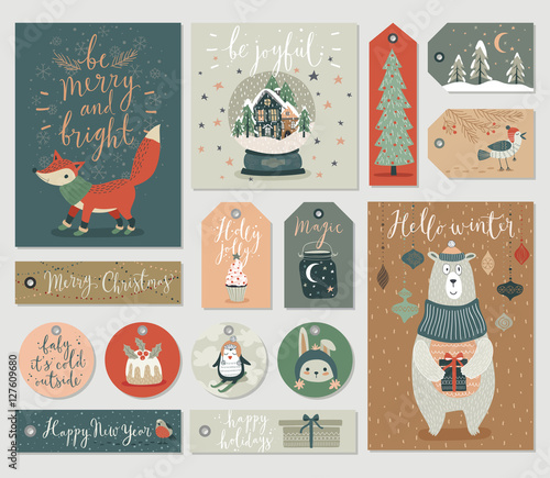 Wall mural Christmas tags set, hand drawn style.