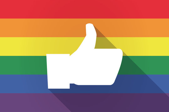 Long shadow lgbt flag with a thumb up hand