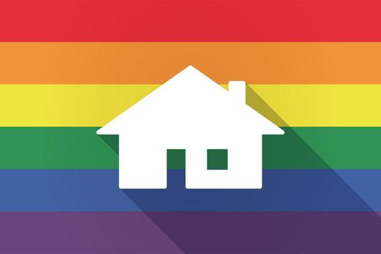 Long shadow lgbt flag with a house
