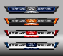 scoreboard elements design for football and soccer, vector illustration