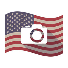 Long shadow USA flag with a photo camera