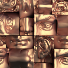 3d render, digital illustration, abstract copper metallic blocks, eyes, ear, nose, lips, mouth, anatomy sculptural face details, David sculpture parts