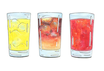 hand drawn set of graphic watercolor cocktails on white background