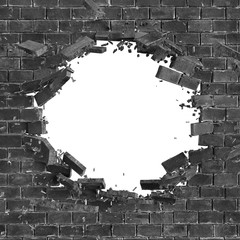 3d render, digital illustration, abstract broken black brick wall background, hole isolated