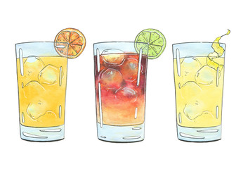 hand drawn set of graphic watercolor cocktails Screwdriver Dark 'N' Stormy Horse's Neck on white background