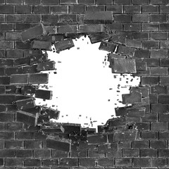 3d render, digital illustration, abstract broken black brick wall background, hole isolated