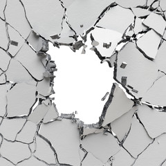 3d render, digital illustration, abstract broken wall, cracked concrete, destroyed blocks, black hole