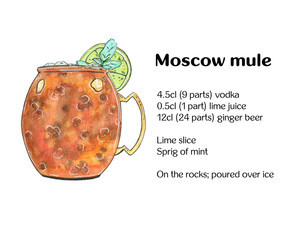 hand drawn watercolor cocktail moscow mule on white background