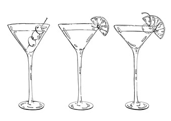 hand drawn graphic cocktail Martini Whiskey sour Sidecar Corpse