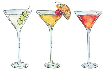 hand drawn watercolor cocktail Martini Whiskey sour Sidecar Corp