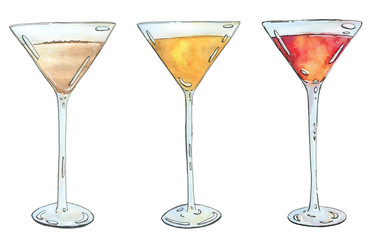 hand drawn set of watercolor cocktails on white background
