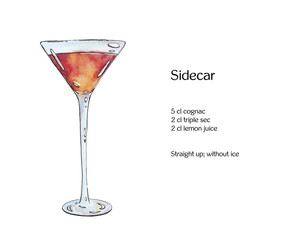 hand drawn watercolor cocktail Sidecar on white background