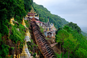Buddhist pagodas and temple at entrance to Pindaya Caves, Myanmar