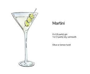 hand drawn watercolor cocktail Martini with olives on white back