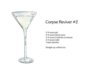 hand drawn watercolor cocktail Corpse Reviver on white backgroun