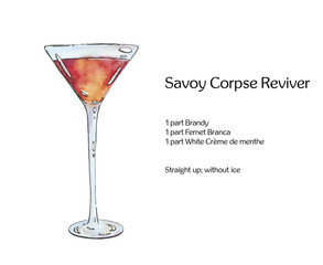 hand drawn watercolor cocktail Savoy Corpse Reviver on white bac