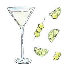 hand drawn watercolor cocktail with lime and olives on white bac