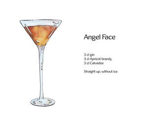 hand drawn watercolor cocktail Angel Face on white background