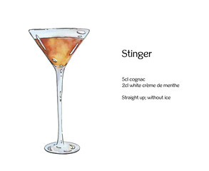 hand drawn watercolor cocktail Stinger on white background