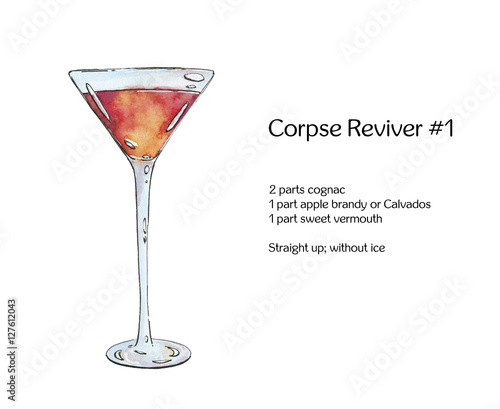 ... : hand drawn watercolor cocktail Corpse Reviver on white backgroun