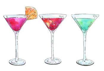 hand drawn watercolor cocktails grasshopper cosmopolitan manhatt