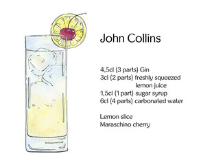 hand drawn watercolor cocktail John Collins on white background