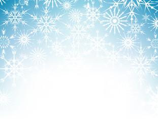 Vector snowflake blue winter background, snow Christmas backdrop