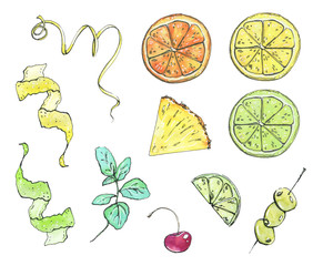 hand drawn set of watercolor garnish elements fruits and berries on white background
