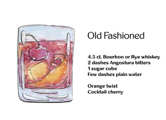 hand drawn watercolor cocktail old fashioned on white background