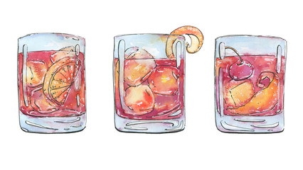 hand drawn watercolor cocktails americano negroni old fashioned