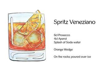 hand drawn watercolor cocktail Spritz Veneziano on white backgro