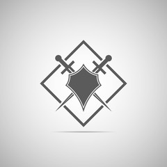 Abstract illustration - shield and sword icon with shadow