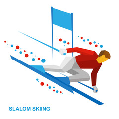 Winter sports - slalom skiing. Cartoon skier with patterns running downhill. Sportsman ski slope down from the mountain. Flat style vector clip art isolated on white background.