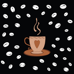 Hand drawn cup of coffee on the black background decorated beans.