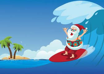 Cartoon Santa Claus surfing a gnarly wave while giving the shaka hand sign. Background with copy space for tropical Christmas or after Christmas. EPS 10 vector.