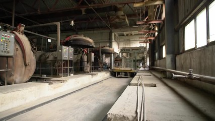 Wall Mural - Brick production. View of drying shop floor