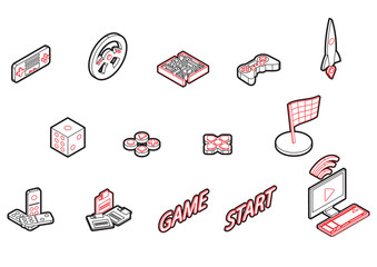 illustration of info graphic game icons set concept in isometric 3d graphic